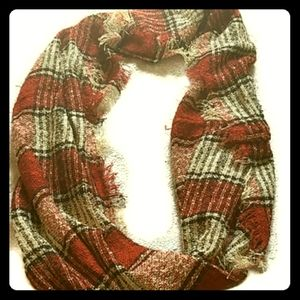 Women's   red plaid fringe infinity scarf